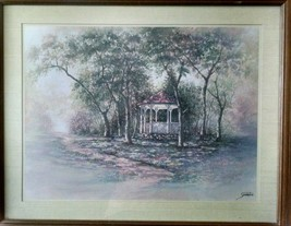 VINTAGE HOME INTERIORS JOE SAMBATARO FRAMED MATTED GAZEBO IN SPRINGTIME ... - $40.00