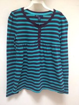 Gap Kids M 8 Top Turquoise Purple Striped Henley Long Sleeve Back to School - $9.78