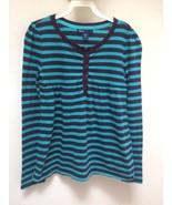 Gap Kids M 8 Top Turquoise Purple Striped Henley Long Sleeve Back to School - $9.78