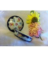 Floral Fine Porcelain Ring Trinket Dish Hand Painted Cobalt Blue Lidded ... - $44.00
