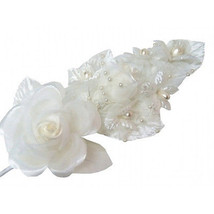 "3 ivory Silk pearl & organza flower Corsages 5""x 2.5 with pearl pin - $7.32"