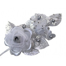 "3 silver Silk pearl & organza flower Corsages 5""x 2.5 with pearl pin - $7.32"