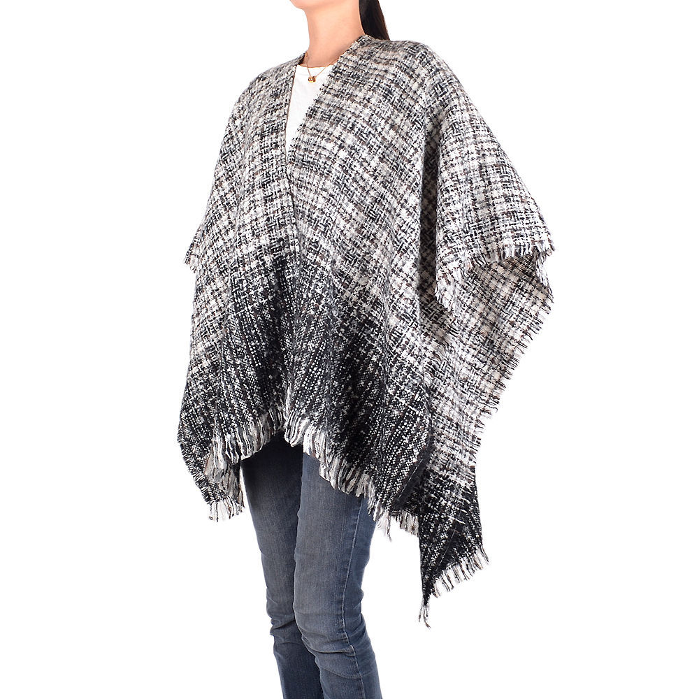 Primary image for Women's Black White Knit Winter Shawl Blanket Wrap Fringe Warm Casual Comfort