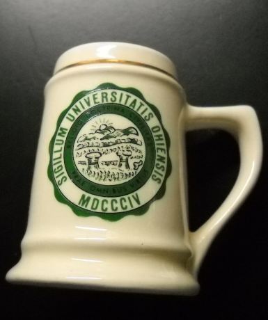 Primary image for Ohio State University Shot Glass Miniature Mug Style White Ceramic Green Gold