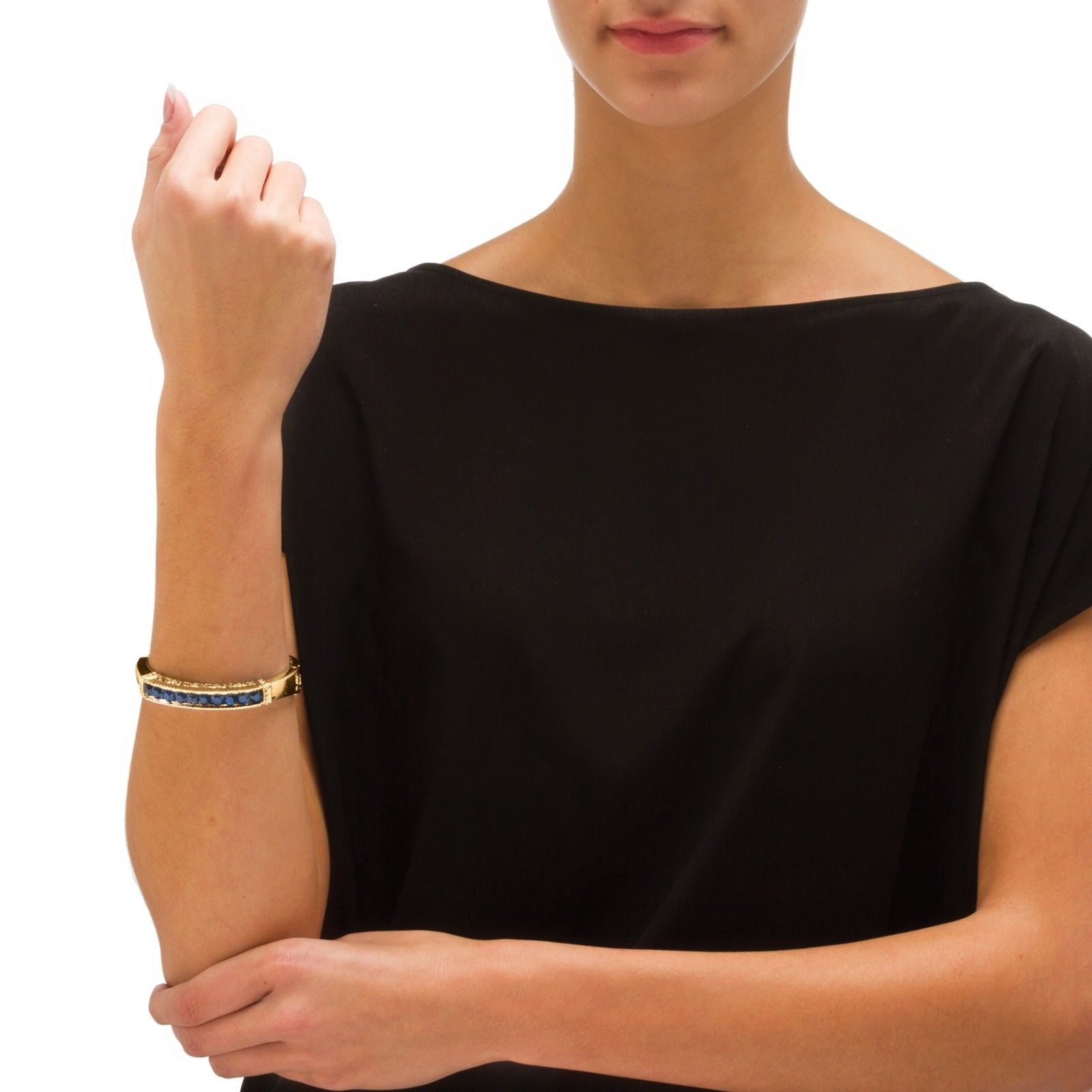"PalmBeach Jewelry Simulated Blue Sapphire Crystal Gold Tone Bangle Bracelet 8"""