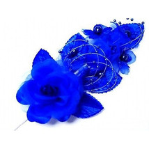 """3 royal blue Silk pearl & organza flower Corsages 5""""x 2.5 with pearl pin - $7.32"""