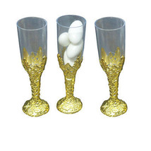 24 Plastic cup candy holder favor 10.2cm tall mini flute like shape - gold - $9.73