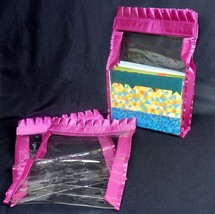 Set of 3 Vinyl Accessory Bags ~ Nylon Sides & Ruffled Edges ~ Choice of Colors - $8.95