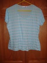 Fresh Produce Top L Aqua Knit Stripe Top - $15.99