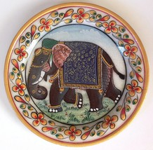 Indian 5″ Marble Plate Art Handmade Floral Elephant Home Decor Stone Pai... - $109.99