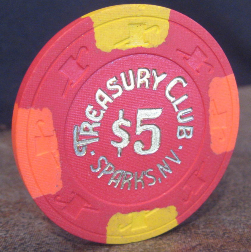 "Primary image for $5.00 Casino Chip From: ""The Treasury Club"" - (sku#4317)"