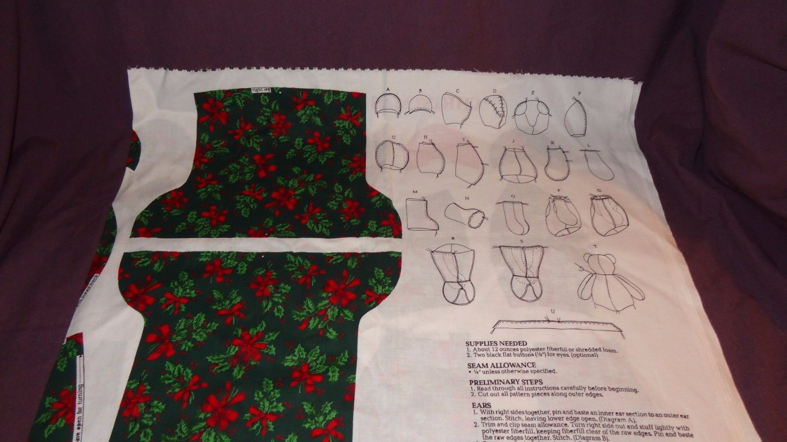 Christmas Cuddle Bear Fabric Panels Teddy Red Green Holiday