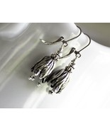 Silver Tulip Flower Earrings - $24.00