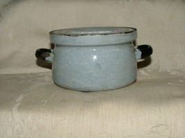 Antique Czech 1920s Graniteware Snow in the Mountains 1/2 Pint Covered C... - $35.00