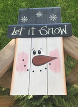 6241LIS - Snowman Let it Snow Top Hat and Face Wood - $12.95