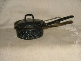 Antique Graniteware CUTE Single EGG POACHER Enamelware Black & White SPA... - $20.00