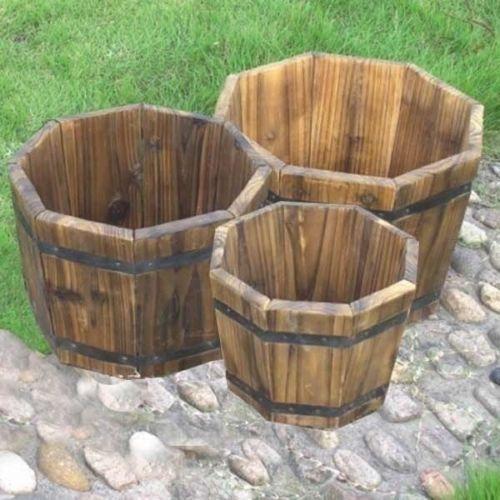 Wooden barrel planter set wood large planters gardening for Wooden barrel planter ideas