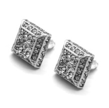 Men Silver Finished 13mm M 3D Cube Square Block Lab Cz Stud Earrings - $9.89