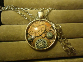 Clock Gears Glass Cabochon Pendant Necklace ........... C/S & H Available - $2.50