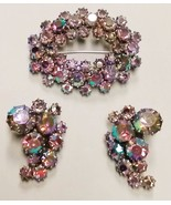 BEAUTIFUL KRAMER SIGNED RHINESTONE BROOCH PIN & EARRING SET - $69.95