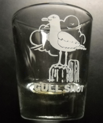 Gull Shot Shot Glass Clear Glass with Perched Sea Gull in White