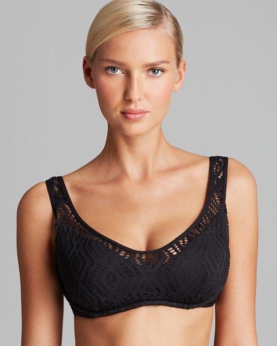 NEW Becca Rebecca Virtue Justa Pick D cup Underwire Crochet Bikini Swim Top Blue