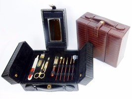 On The Go Beauty Set ~ Cosmetic Kit, Travel Vanity, Jewelry Case, Brown or Black - $9.95