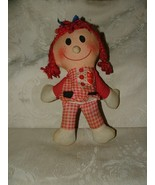 "1960s Cloth 10"" Stuffed RAG Doll BE MY VALENTINE Red Yarn Hair Red Check... - $8.00"