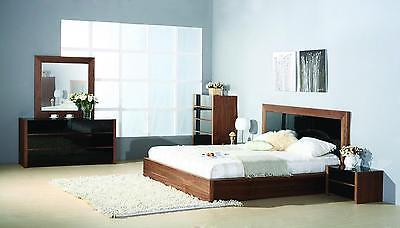 BH Stark Queen Size Platform Bedroom Set 5pc. Walnut Contemporary Style