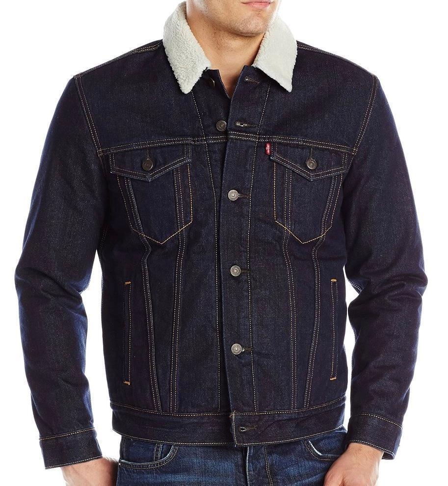 NEW LEVI'S MEN'S PREMIUM BUTTON UP DENIM SHERPA JEANS TRUCKER JACKET 705980027