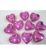 "Valentines Day Pink Shiny Hearts 2.25"" Ornaments Set of 10 Decorations  ... - $16.99"