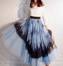Dusty Blue Long Tulle Skirt Butterfly Dye Tulle Skirt Plus Size Party Outfit image 1