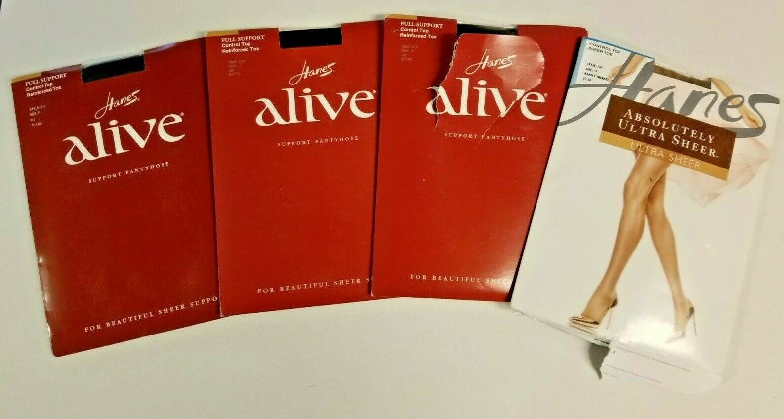 Primary image for 4 HANES Alive Barely There Support Pantyhose Stockings Lot Sz F Jet Black Sheer