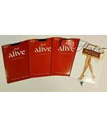 4 HANES Alive Barely There Support Pantyhose Stockings Lot Sz F Jet Blac... - $24.99