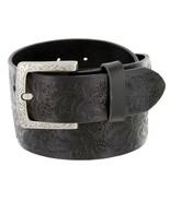 "Western Floral Engraved Buckle Tooled Full Grain Leather Belt 1-1/2"" (38... - $29.95"