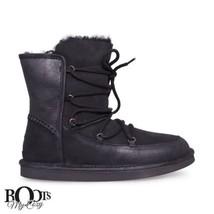 UGG LODGE BLACK SUEDE SHEEPSKIN LACE UP WINTER BOOTS SIZE US 7/UK 5.5/EU... - $125.99