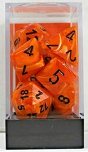 Chessex 7 Piece Dice Set Vortex Orange w/black 27433 D4 D6 D8 D10 D12 D20 - $9.99
