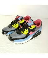 Nike Air Max 90 GS Leather 307793 081 Flint Gray Flamingo Pink Blue Sz 5... - $51.94