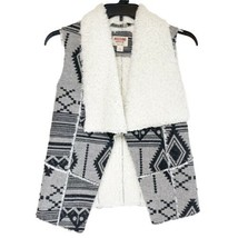 Mossimo Sherpa Lined Vest Grey Aztec Print Size Small - $24.74