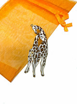 """2"""" Tall Giraffes Enameled Brooch Pin Safety Catch Clasp Animal Lover Jewelry - $15.20"""