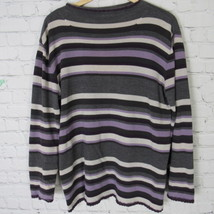 Liz Claiborne Villager Knit Shirt Top Womens Large L Gray Purple Stripe - $15.61