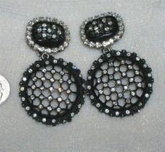Vintage 80s Glam Rhinestone Runway Doorknocker Statement Earrings - $55.00