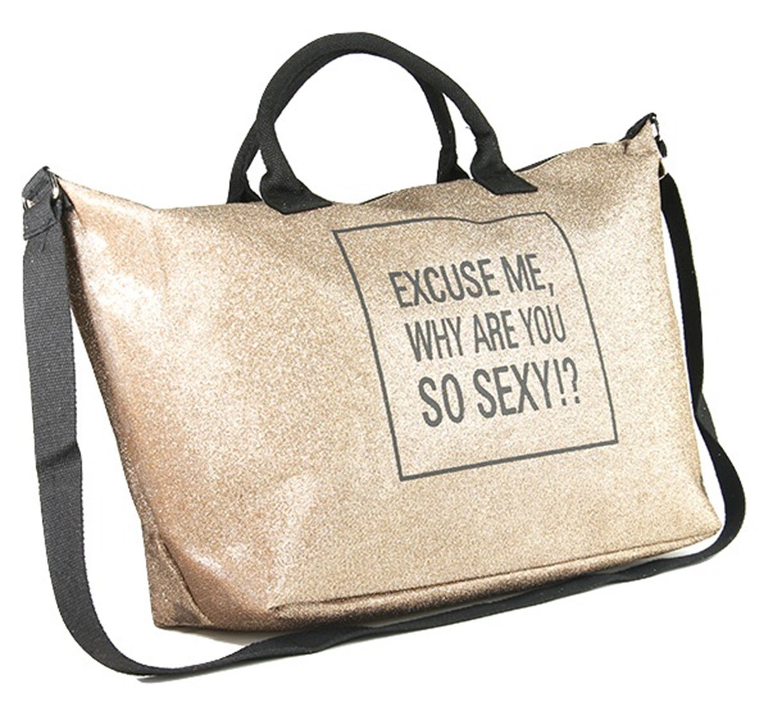 Glitter Excuse Me Why Are You So Sexy Tote Shoulder Purse Handbag Gym Bag