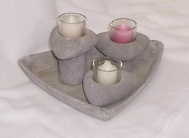 PartyLite Living Stones Candle Holders Stone Like Finished Ceramic P8547 - $24.70