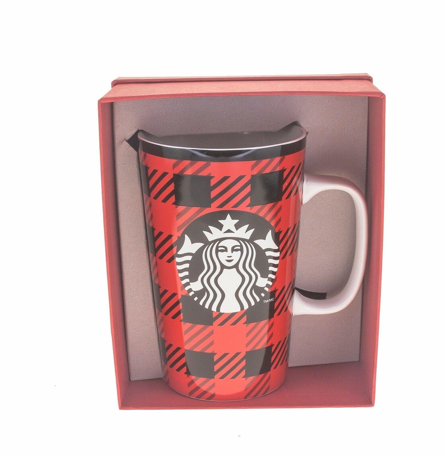Starbucks Tartan Plaid Red Black Siren Logo Ceramic Tall Mug Handle 16oz DOT - $41.57