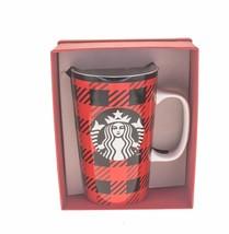 Starbucks Tartan Plaid Red Black Siren Logo Ceramic Tall Mug Handle 16oz... - $41.57