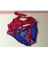 American Eagle Outfitters 2 Pc Bikini Bathing Suit SP Pink Blue Tie Straps  - $19.80