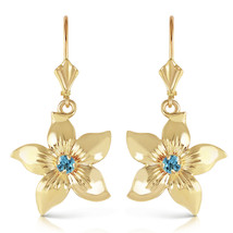 0.2 Carat 14K Solid Gold Leverback Flowers Earrings Blue Topaz - $599.87