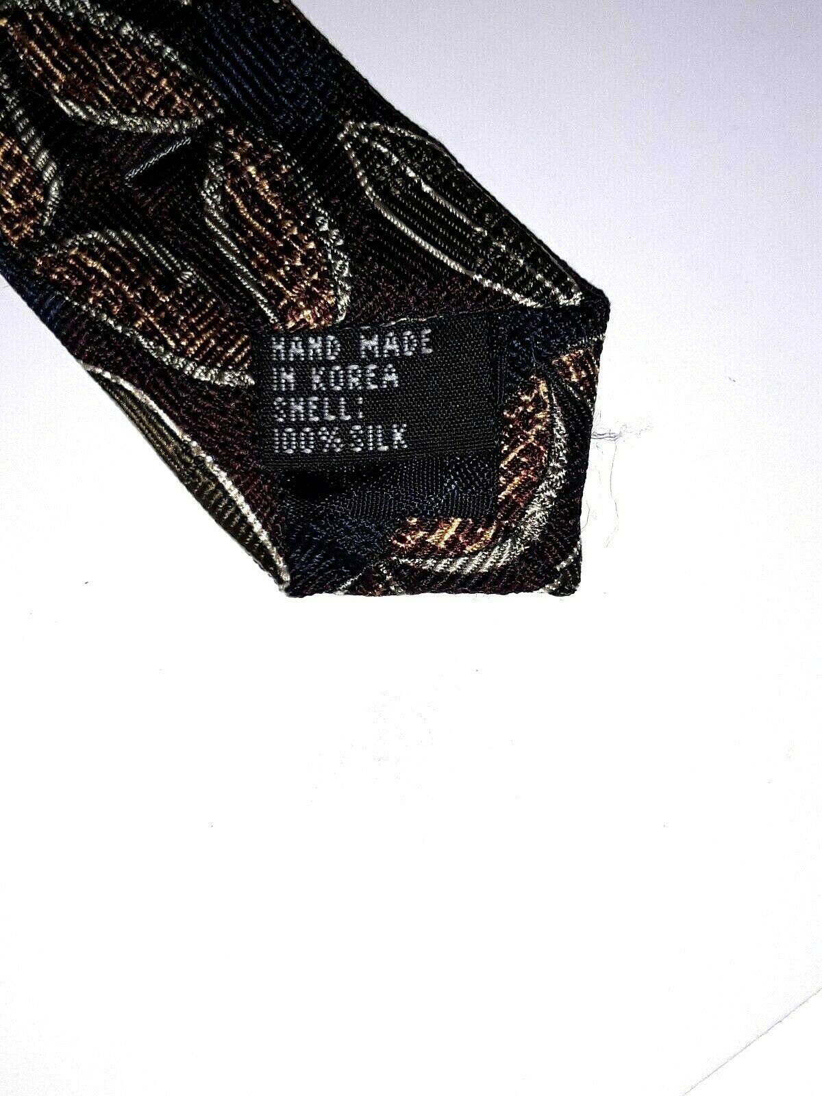 "Louis Roth Men's Tie Necktie 100% Silk Gold Black Burgundy Geometric 59"" x 4"" image 5"