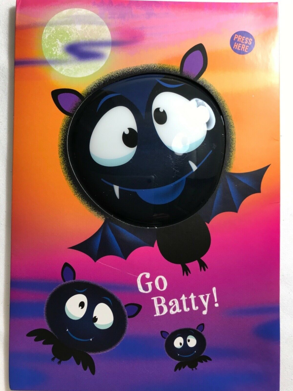 Primary image for Halloween Card w/ 3 Black Bats with Bubble Eyes w/ press button for sound/song